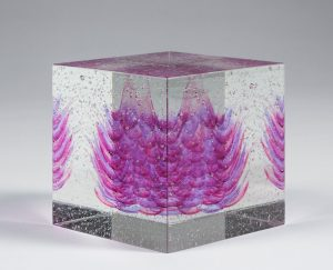Art glass of Clare Peters Kiln formed layered and fused glass with cold working finish