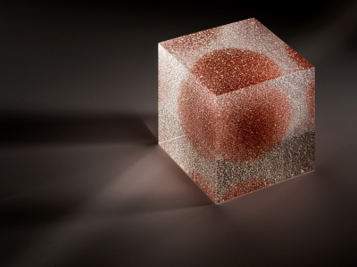 artistic glass Clare Peters Kiln formed layered and fused with precious metal enamel